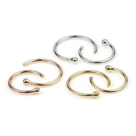 14ct Gold Open Nose Ring - 0.8mm