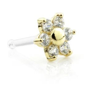 18ct Gold Bioplast Gem Flower Nose Stud