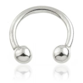 9ct White Gold Micro Circular Barbell - 1.2mm