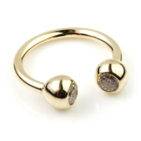 9ct Gold Gem Micro Circular Barbell - 1mm