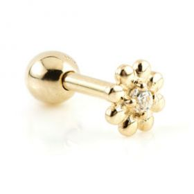9ct Gold Flower Gem Microbar - 1mm