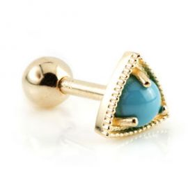 TL - Gold Turquoise Stone Cartilage Bar