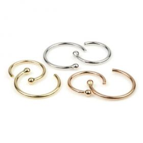 9ct Gold Open Nose Ring - 0.6mm