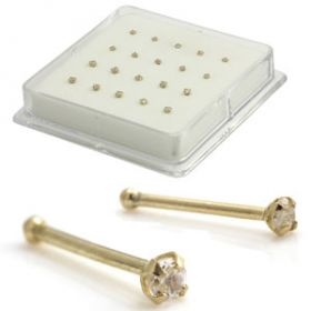 Boxed 9ct Jewelled 1.5 & 2mm Nose Studs - Ball Back