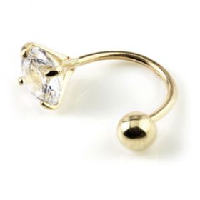 TL - 9ct Gold Claw Gem Rounded Bar
