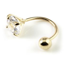 9ct Gold Claw Gem Rounded Bar  - 0.8mm