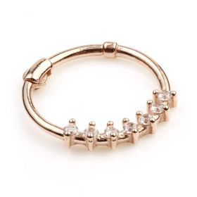9ct Rose Gem Gold Hinge Segment Ring - 0.8mm