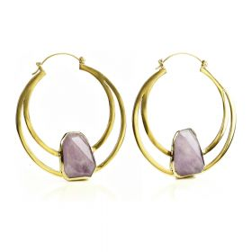 Mandala Jewellery - Amethyst Giant Circular Brass Band Earrings (pair)