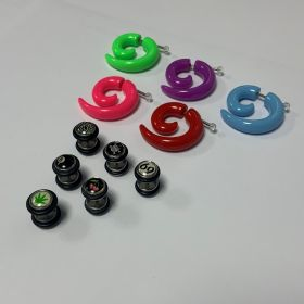 Acyric and Steel Fake Stretchers mixed size and design (750g 310 pieces approx)