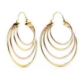 Brass and Copper Band Hoop Earrings (Pair)