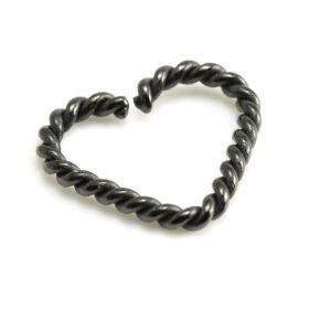 Black Steel Rope Heart Rings