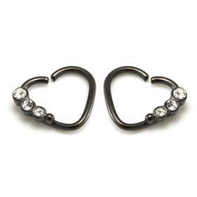 Black Steel Crystal Gem Heart Ring