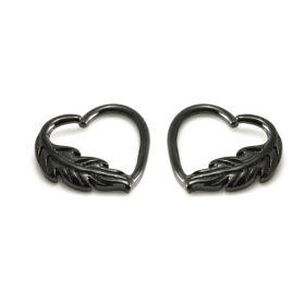 Black Steel Leaf Heart Rings
