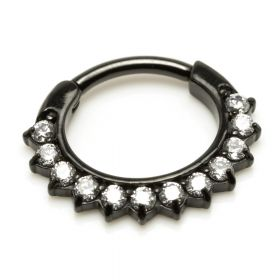 Black Steel Jewelled Septum Ring
