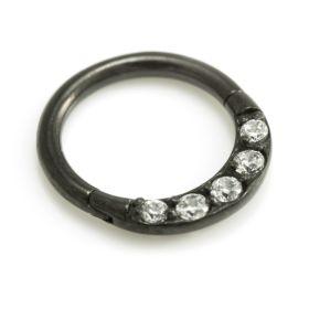Black Steel Pave Gems Hinged Ring