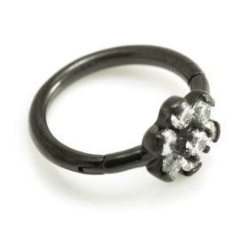 Black Steel Flower Gem Hinged Ring