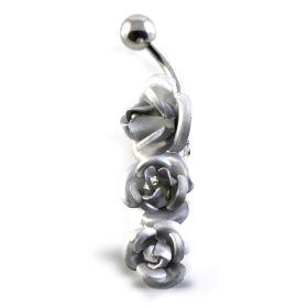 3 Roses Silver & Steel Navel