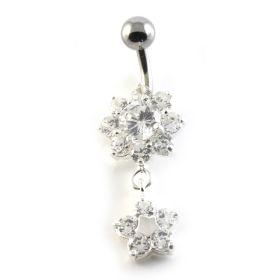 Flower Drop Flower Silver & Steel Navel