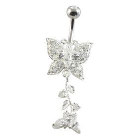 Butterfly Silver & Steel Navel