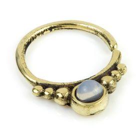 1x Moonstone Brass Open Ring