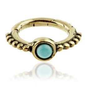 Brass Ornate Turquoise Open Cartilage Ring