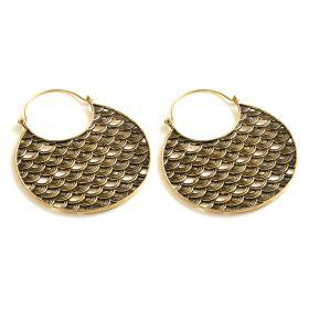 Round Brass Semi Circle Hoop Earrings (Pair)