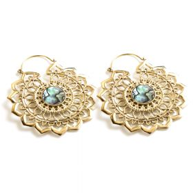 Brass Lotus Hoop Earrings with Abolony (Pair)