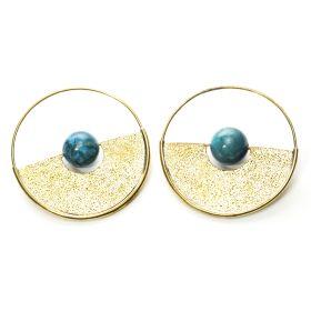 Brass Turquoise Disk Hoop Earrings (Pair)
