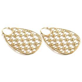 Brass Cris-Cross Hoop Earrings (Pair)