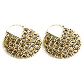 Brass Hex Pattern Hoop Earrings (Pair)