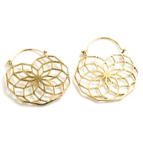 Brass Geometric Hoop Earrings (Pair)