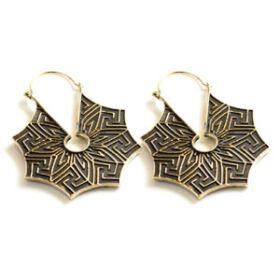 Brass Solid Hex Hoop Earrings (Pair)