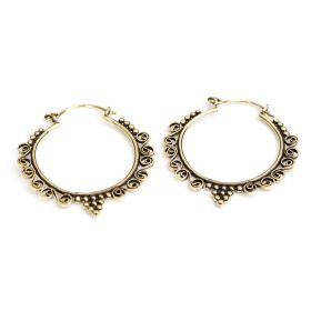 Brass Round Swirl Hoop Earrings (Pair)
