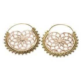 Brass and Copper Coated Hoop Earrings (Pair)