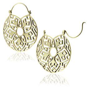 Brass Flower Disk Earrings (Pair)