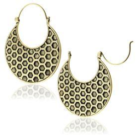 Brass Hex Disk Earrings (Pair)