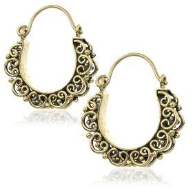 Small Brass Tribal Double Sided Hoop Earrings (Pair)