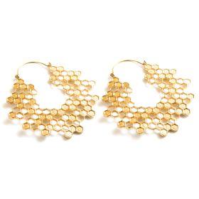 Brass Hex  Honeycomb Hoop Earrings (Pair)