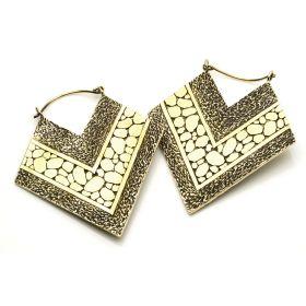 Diamond Brass Hoop Earrings (Pair)