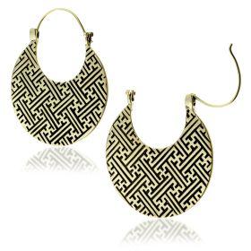 Brass Geo Lines Disk Earrings (Pair)