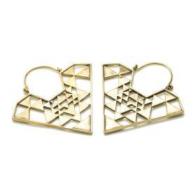 Brass Diamond Shape Hoop Earrings (Pair)