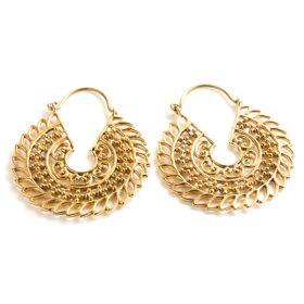 Brass Mandala Hoop Earrings (Pair)