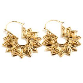 Brass Lotus Flower Hoop Earrings (Pair)