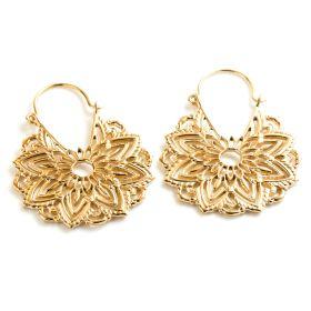 Brass Mandela Hoop Earrings (Pair)