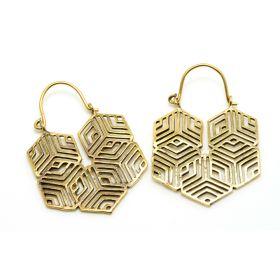 Tribal Hex Brass Hoop Earrings (Pair)
