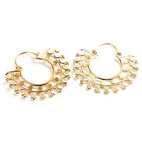 Brass Tribal Hoop Earrings (Pair)