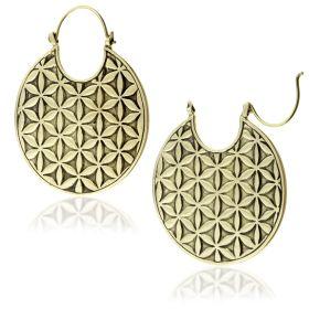 Brass Geo Flower Hoop Earrings (Pair)