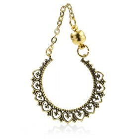 1x Brass Tunnel Charm with Magnetic Chain Link