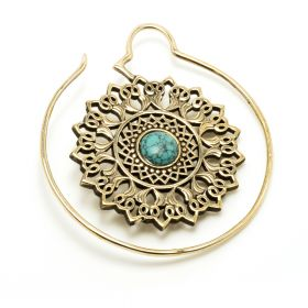 1x Brass Ear Weight Mandala with Turquoise