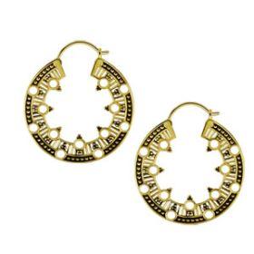 Brass Circular Tribal Hoop Earrings (Pair)